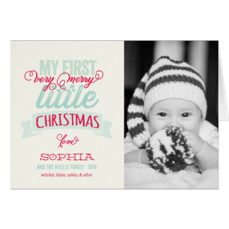 Baby's First Merry Little Christmas Photo Greeting Card