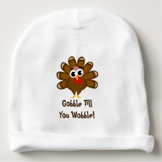 Baby's first Thanksgiving - Gobble till you wobble Baby Beanie