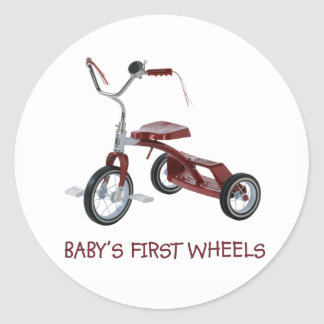 Baby's First Wheels  Bicycle Classic Round Sticker