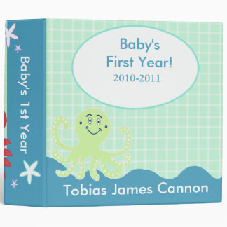 Baby's First Year Photo Album Under the Sea theme Vinyl Binders
