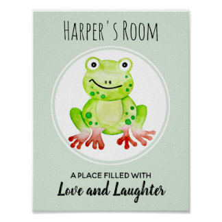 Baby's Green Watercolor Frog Jungle Nursery Art Poster