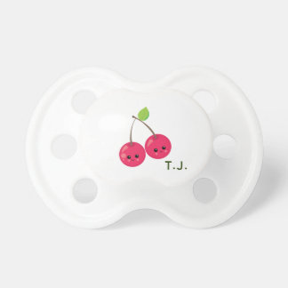 Babys Initials with Red Cherries Pacifier