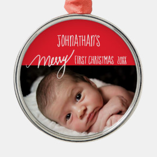 Baby's Merry First Christmas Red and White Photo Metal Ornament