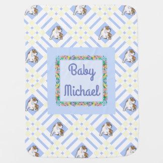 Baby's Name Blue English Bulldog Baby Blanket