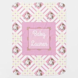 Baby's Name Pink English Bulldog Baby Blanket
