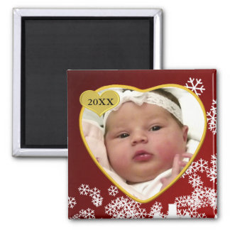 Baby's Photo Keepsake Christmas Square Magnet