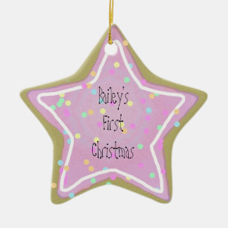Baby's Pink Star Cookie with Sprinkles 1st  - Ceramic Ornament