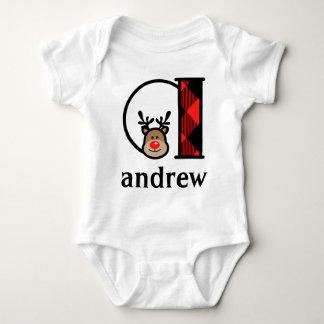 Baby's Reindeer Christmas Bodysuit monogram a