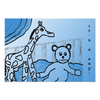 Baby's Room Blue Photo Birth Announcements