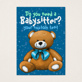 Babysitter Babysitting DayCare ChildCare Blue Business Card