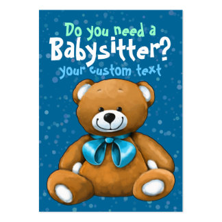 Babysitter Babysitting DayCare ChildCare Blue Large Business Card