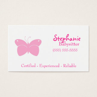 Babysitter Business Card - Pink Butterfly
