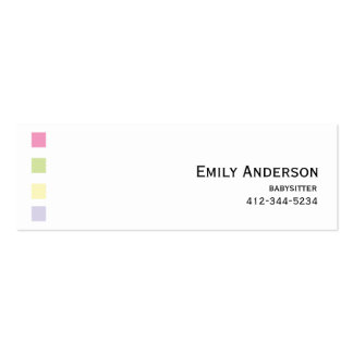 Babysitter Colorful Squares Business Card