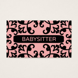 Babysitter Damask Business Card