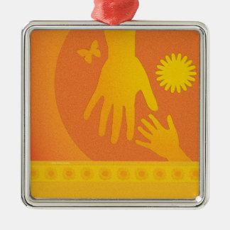 Babysitter Hands Yellow Orange Silver-Colored Square Ornament
