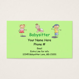 Babysitter Nanny Cartoon Stick Kids Boy Girl Baby Business Card