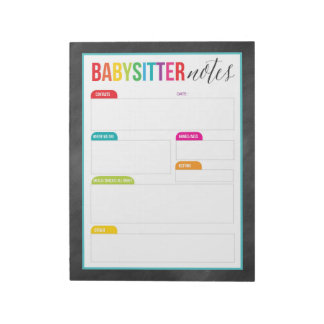 Babysitter Notes Notepad for Parents (Large)