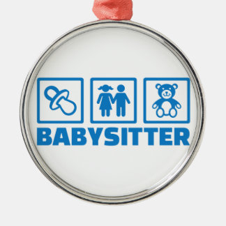 Babysitter Silver-Colored Round Ornament