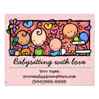 Babysitting day care child care promo glossy 4x5 flyers