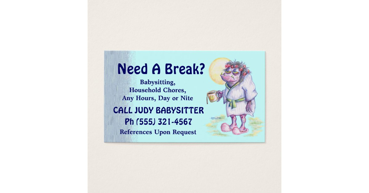 Babysitting Or Household Chores Business Card Zazzle Ca