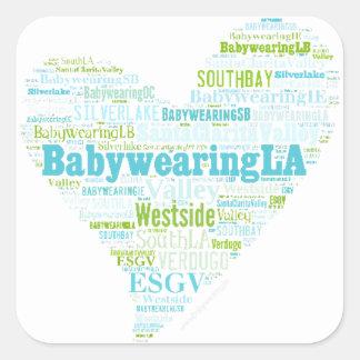 BabywearingLA Heart Logo Square Sticker