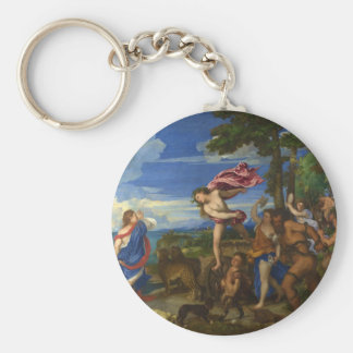 Bacchus and Ariadne by Titian Basic Round Button Keychain