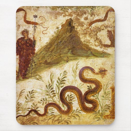 Bacchus and Serpent Agathodaimon in Pompeii Mouse Pad