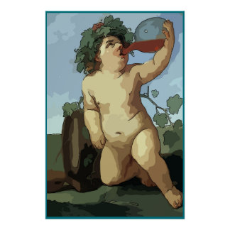 Bacchus drinking wine, poster