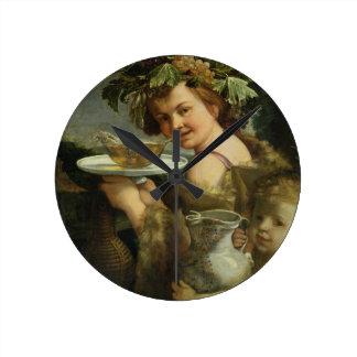 Bacchus (oil on canvas) clock