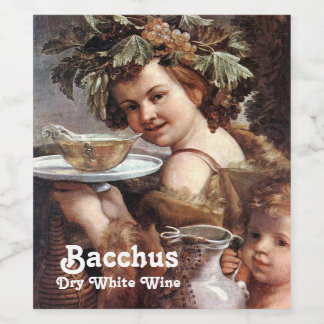 BACCHUS WITH GRAPES AND WHITE WINE LABEL