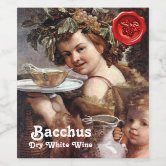 BACCHUS WITH GRAPES AND WHITE WINE RED WAX SEAL WINE LABEL