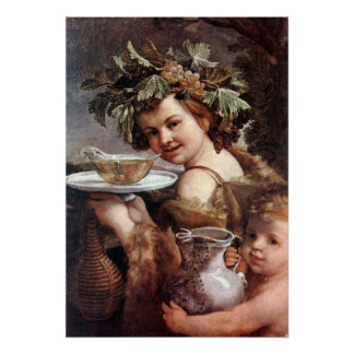 BACCHUS WITH GRAPES AND WINE POSTER