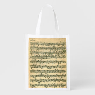 Bach Chaconne Manuscript for Solo Violin Reusable Grocery Bag