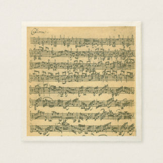 Bach Chaconne Violin Music Manuscript Disposable Napkins