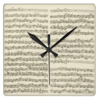 Bach Music Manuscript, 2nd Suite for Cello Solo Square Wall Clock