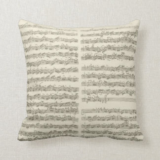 Bach Music Manuscript, 2nd Suite for Cello Solo Throw Pillow