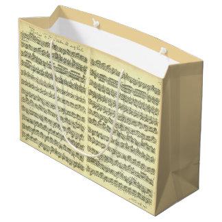 Bach Partita Music Manuscript for Violin Solo Large Gift Bag