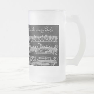 Bach Partita White on Black Frosted Glass Beer Mug