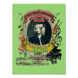 Bach Spoof Parody Baach Funny Sheep Composer Poster