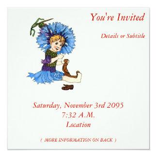 """Bachelor Button 5.25"""" Square Invitation Card"""