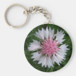 Bachelor Button Pink and White Keychain