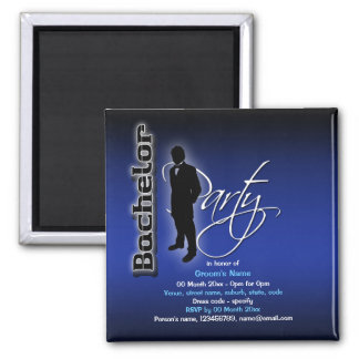 Bachelor cool blue black party magnets