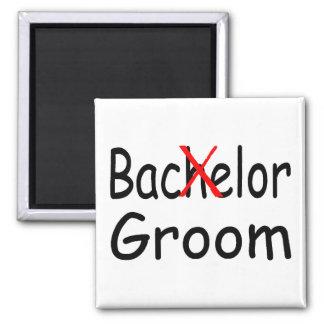 Bachelor Goom (Blk) Square Magnet