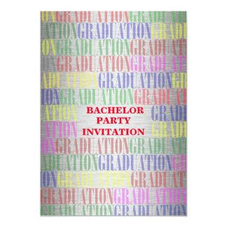"""Bachelor Graduation Party Invitation,Silver 5"""" X 7"""" Invitation Card"""