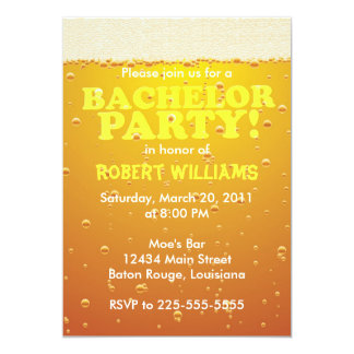 """Bachelor Party 5"""" X 7"""" Invitation Card"""