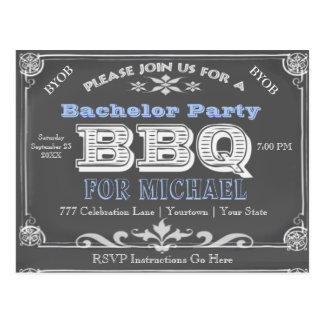 Bachelor Party | BBQ | Vintage Chalkboard Postcard