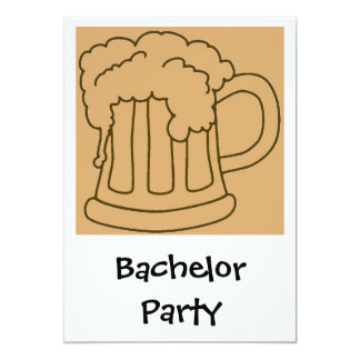 """Bachelor Party Beer 5"""" X 7"""" Invitation Card"""