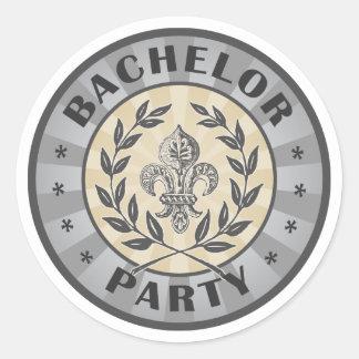 Bachelor Party Crest Design Round Sticker