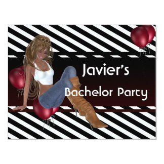 "Bachelor Party Cute Girl Red Balloons 3 4.25"" X 5.5"" Invitation Card"