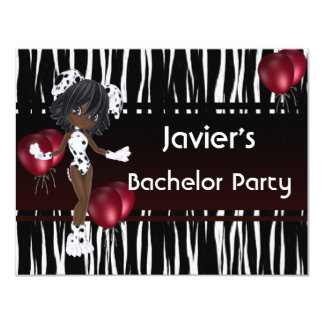 "Bachelor Party Cute Girl Red Balloons 4.25"" X 5.5"" Invitation Card"